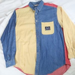 Vintage NAUTICA DENIM Color Block L/S Button Shirt